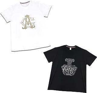 الإزهار تي شيرت الرجال والنساء بأكمام قصيرة أسود/أبيض القطن الصيف أزياء تي شيرت 2 قطعة (Size : Medium)