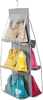 Vercord 6-Pocket Hanging Purse Handbag Tote Storage Holder Organizer Dust-Proof Closet Wardrobe Hatstand Space Saver, Grey