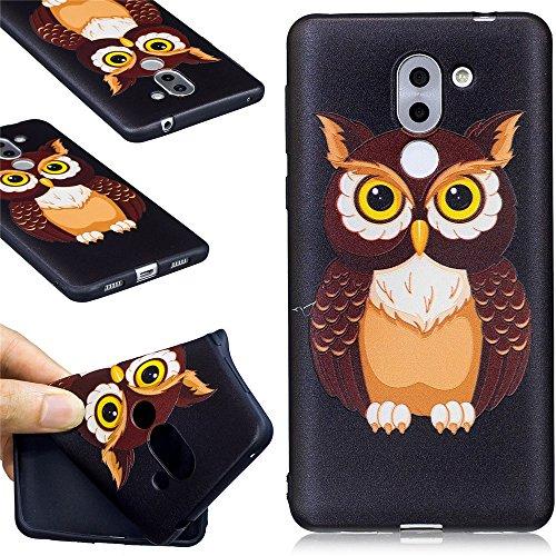 Ooboom® Huawei Honor 6X Hülle TPU Silikon Matt Gummi Gel Weich Handy Tasche Case Cover Flexibel Ultra Dünn für Huawei Honor 6X - Eule
