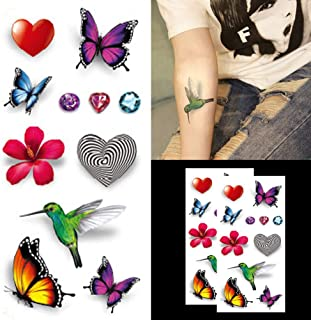 29d1e3cc7 Oottati 3D Heart Love Hummingbird Flowers Diamond Clavicle Temporary Tattoo  (2 Sheets)