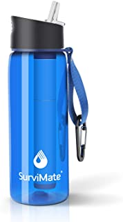 SurviMate Purified Water Bottle for Camping, Hiking, Backpacking and Travel, BPA Free with 4-Stage Intergrated Filter Straw