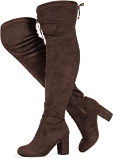 ec5e360f2 RF ROOM OF FASHION Women's Over The Knee Block Chunky Heel Stretch Boots  (Medium and