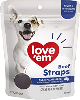 Love Em Beef Straps Dog Training Chew Treats 150g