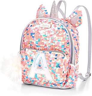 Justice Girls Coal Pink Silver Unicorn Flip Sequin Mini Backpack Bag (C)