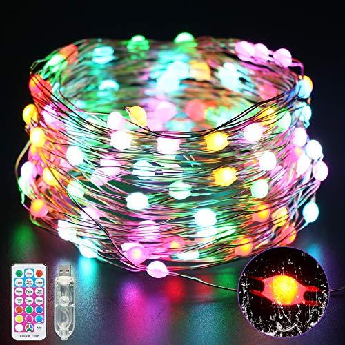 VIMOV Luces de Cadena Luces de Alambre de Cobre, Hadas para Exteriores 100 Luces LED que Decoran Luces de Jardín