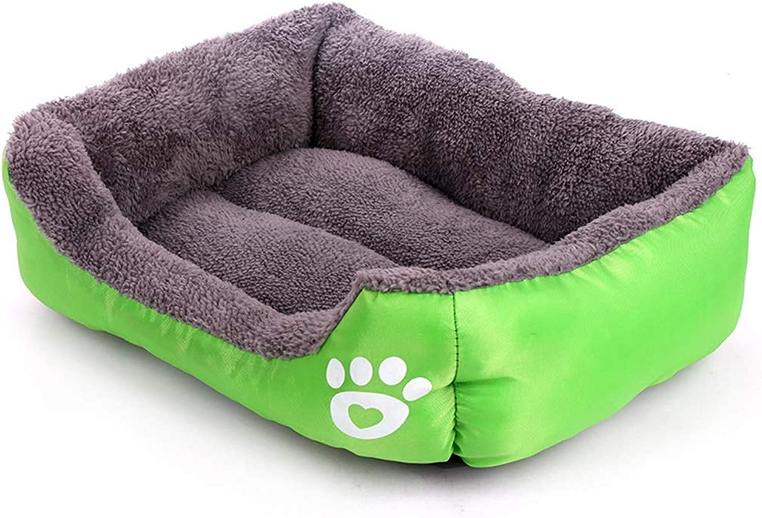LZRZBH Candy color Footprint Pet Nest ,Dog Beds , Plush Pet Bed,Removable, Washable, Easy to Clean, Small and MediumSized Large Dogs (color   Green, Size   L 68  55  16cm)