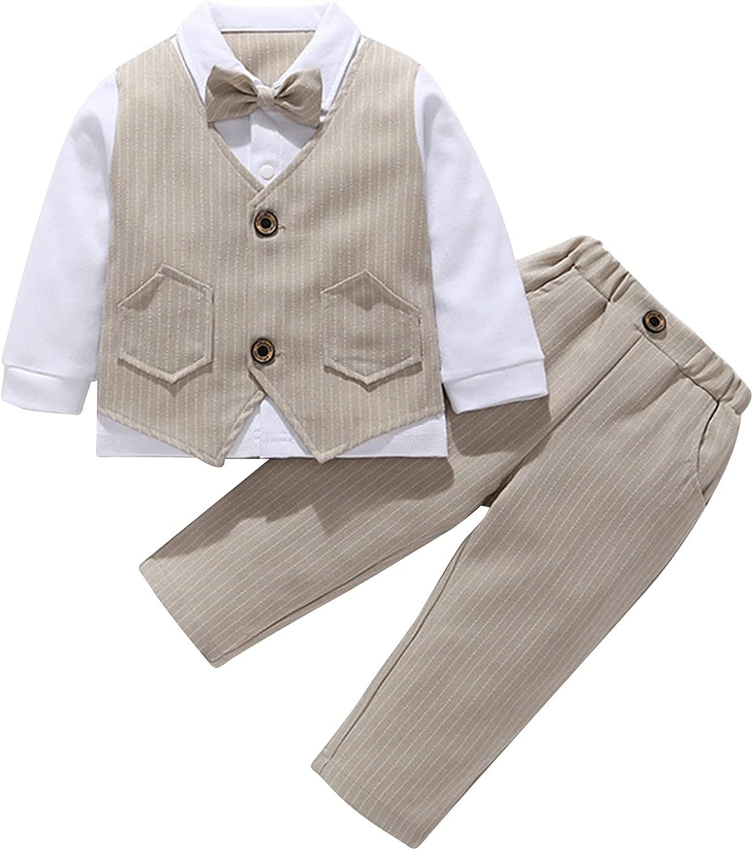 Choomomo Ranking TOP19 Baby Luxury Boys Long Sleeve Bowtie Tux Gentleman Outfits Kids