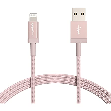 Amazon Basics New Release Nylon USB-A to Lightning Cable Cord, MFi Certified Charger for Apple iPhone, iPad,Rose Gold, 6-Ft
