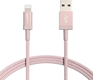 Amazon Basics Nylon Braided Lightning to USB Cable - MFi Certified Apple iPhone Charger, Rose Gold, 6-Foot (5-Pack) (Durability Rated 4,000 Bends)