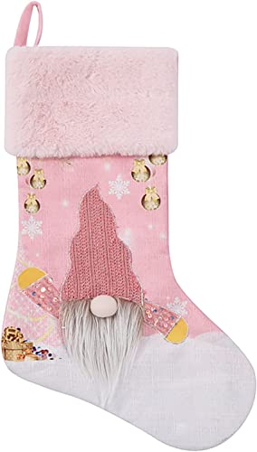 """wholesale RiamxwR Christmas Stocking 18.5"""" Swedish Gnome Stockings 3D Glowing online discount Plush Gnome Fireplace Hanging Stockings for Family Christmas Decoration Party Decor (Style A) outlet sale"""