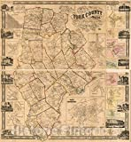 Historic 1856 Wall Map - Map of York County, Maine 44in x 44in