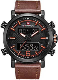 NAVIFORCE 9135 Mens Sports Leather Wrist Strap Analog Digital Quartz Watch - Black + Orange