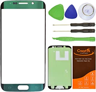 CrazyFire Green Emerald Top Front Outer Lens Glass Screen Replacement For Samsung Galaxy S6 Edge SM-G925 G925A G925P G925T G925V G925R4 G925F With Tools Kit And Adhesive