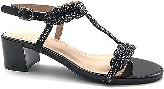 NJSDHEVS Women's Fashion Shoes Sandals Pump Court Shoes - t-bar - Open - Wedding Ceremony - Rhinestone - Pearl Block high Heel 5 cm