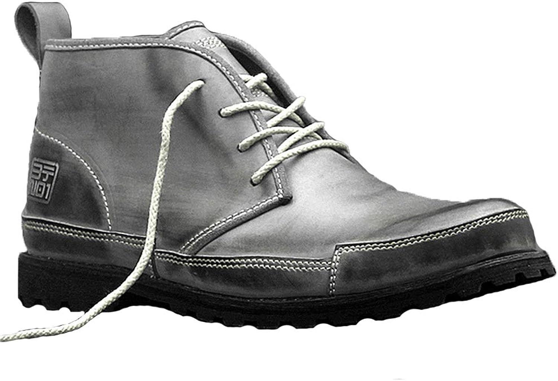 Qiusa Echtes Leder Chukka Stiefel für Mnner Durable Non Slip Atmungsaktive Komfort Stiefel (Farbe   Grau, Gre   EU 43)