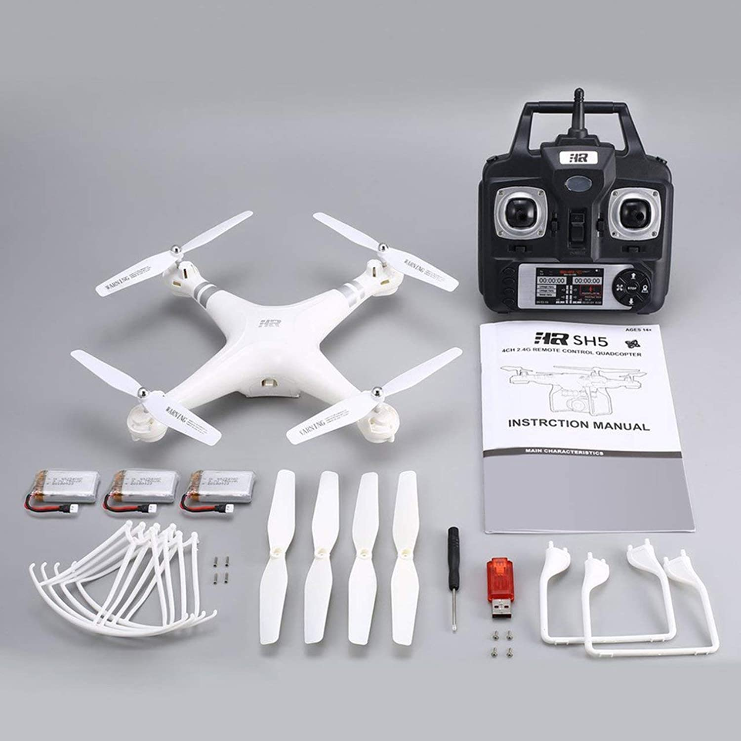 Romerofs RC Quadcopter Upgraded SH5HD Smart Drone RC Quadcopter with Altitude Hold Headless Mode One Key Return LED Light Control Speed 3 Batteries