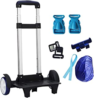 2 Wheels Backpacks Pull Rod - Students Climbing Stairs Mute Lightweight Compact Folding Travel Trolley Black