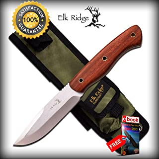 FIXED BLADE HUNTING SHARP KNIFE Elk Ridge Full Tang Brown Wood Tactical Skinner Blade Combat Tactical Knife + eBOOK by Moon Knives