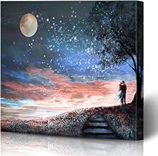 Ahawoso Canvas Prints Wall Art Printing 16x16 Watercolor Man Fantasy Night Sky Milky Way Floral Painting Nature Love Moon Tree Scenery Couple Painting Artwork Home Living Room Office Bedroom Dorm