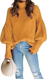 XXXITICAT Women's Turtleneck Knit Tops Long Sleeve High Neck Balloon Sleeve Loose Solid Jumper Knitted Sweaters