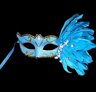 Perfect Party Decoration Holiday Accessories Birthday Party Masquerade Christmas Halloween Feather Painted Mask(Blue)