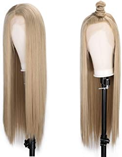 ENTRANCED STYLES Honey Blonde Lace Front Wigs Synthetic Long Straight Wigs for Women Natural Hairline Blonde Color Hair High Temperature Heat Resistant Fiber Hair 30 Inch