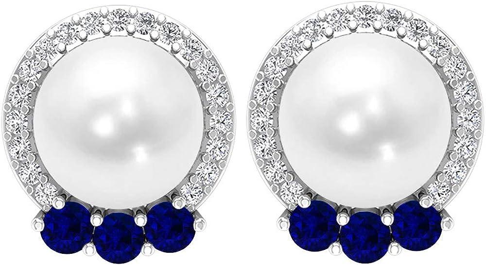Halo Earrings, 6.49 CT Gemstone, HI-SI Diamond 2 MM Lab Created Blue Sapphire 7MM Fresh Water Pearl Earrings, Gemstone Jewelry, Solid Gold Solitaire Stud Earrings, Screw back
