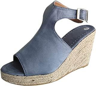 〓COOlCCI〓Women's Espadrille Wedges Sandals Peep Toe PU Belt Buckle Blocking Adjustable High Platform Ankle Strap Open Toe