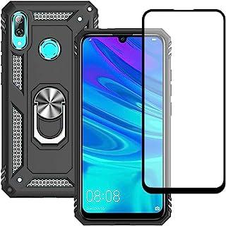 Yiakeng Huawei P Smart 2019 fodral med skärmskydd i härdat glas, silikon stötsäker militärklassad skyddande telefonskydd m...