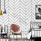 20.8inx32.8ft Luxton Herringbone Wallpaper, White Black Wallpaper Thick Premium Geometric Wallpaper (Unpasted) 10M Roll Waterproof for Kitchen Bathroom Wall Decoration
