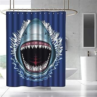 EwaskyOnline Bathtub Splash Guard Shark Attack of Open Mouth Sharp Teeth Sea Danger Wildlife Ocean Life Cartoon Waterproof Colorful Funny W72 x L96 Royal Blue Teal