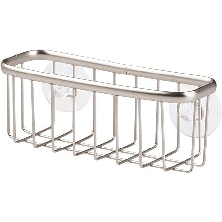 iDesign porte éponge, petit accessoire cuisine en métal pour éponge, grattoir, savon ou lavettes, support éponge à ventouses, argenté mat