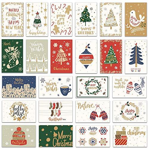 NLR Paquete de tarjetas de felicitación navideñas #Temporada de Navidad | 24 Cartas de 24 Diseños Únicos | 14 x 9 cm | Sobres y Sellos incluidos | Para Navidad y Año Nuevo (Bi-fold)