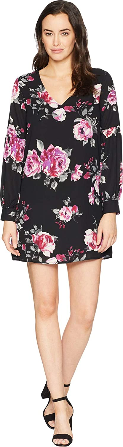 American pink Women's Hazel VNeck Floral Shift Dress Black Small