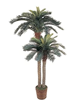 Nearly Natural 5033 6ft. & 4ft. Sago Palm Double Potted Silk Tree