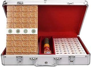 ZHLJ Acrylic Mahjong Golden Leopard Pattern Home Travel Leisure Entertainment Toys Personality Creative Collection Aluminum Mahjong Storage Box Mahjong