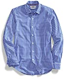 Amazon Brand - Goodthreads Men's Slim-Fit Long-Sleeve Gingham Plaid Poplin Shirt, Blue/White, Medium