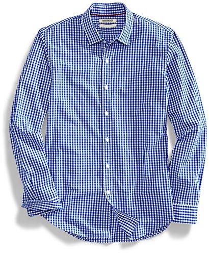 Amazon Brand - Goodthreads Men's Slim-Fit Long-Sleeve Gingham Plaid Poplin Shirt, Blue/White, Medium