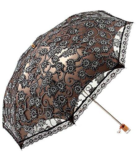 Honeystore Lace Travel Parasol Folding Anti-uv Windproof Embroidery Umbrella 2 Folding Black