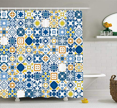 vrupi Gelbe & Blaue Muster Duschvorhang Mosaik Portugal Azulejo Mittelmeer-Effekt Muster Stoff Badezimmer Dekoration Tuch Duschvorhang 12 Haken wasserdicht 180 * 180cm