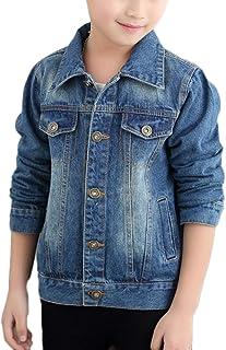 LaoZan Dziecięca kurtka dżinsowa dla dziewczynek, chłopców, płaszcz dżinsowy, kurtka przejściowa, kurtka dżinsowa