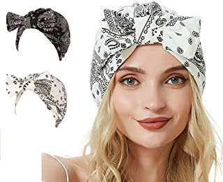 AuroTrends Pretied Slip on Turban Chemo Hat, Flower Turban 2 Pack,Elastic Knotted Headwrap Beanie,Sleep Hat,Hair Loss Caps