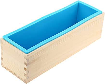 1200g Loaf Soap Mould Silicone Wooden Mold DIY Soap Making Tools (Blue)