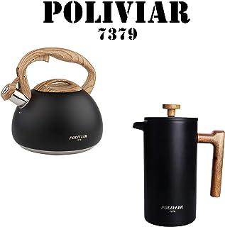 POLIVIAR Tea Kettle/Coffee Press Black Ti, 2.7 Quart Tea Kettle, 34 OZ French Coffee Press with teak wood handle(JX2020-BT))