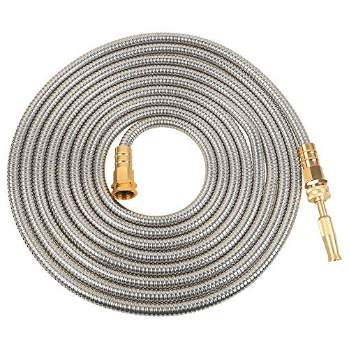 VERAGREEN Stainless Steel Metal Garden Hose 304 Stainless Steel Water Hose with Solid Metal Fittings...