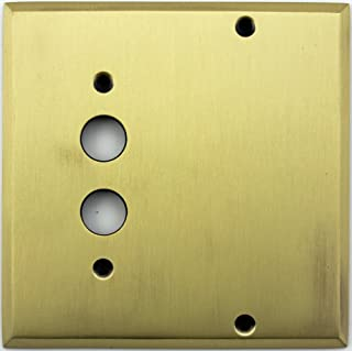 Classic Accents Antique Brass 2 Gang Wall Plate - 1 Push Button Light Switch Opening 1 Blank