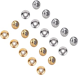 UNICRAFTALE 20pcs 2 Colors 6mm Rondelle Stopper Beads 304 Stainless Steel Slider Beads with Plastic Golden & Stainless Ste...