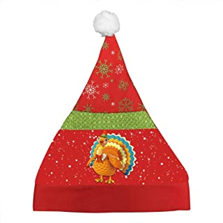 IHJUTp Beautiful Turkey Printed Cartoon Christmas Hats Santa Hat Xmas Caps for Adult Or Children