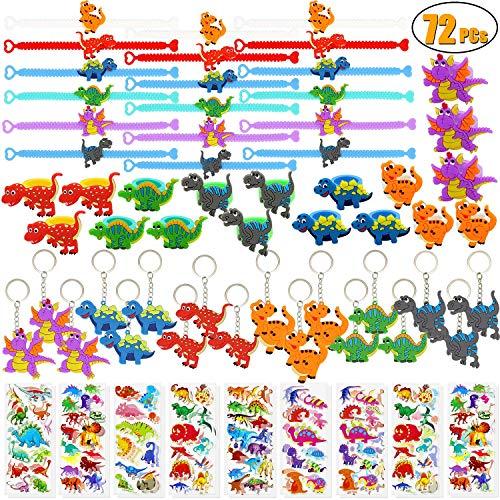 Wuree 72 PCs Dinosaur Party Favors Dinosaur Pulseras Anillos Llaveros Pegatinas Juguetes Premios Regalo Carnavales para niños Niños Fiesta de cumpleaños Artículos a Favor Goodie Bag Fillers