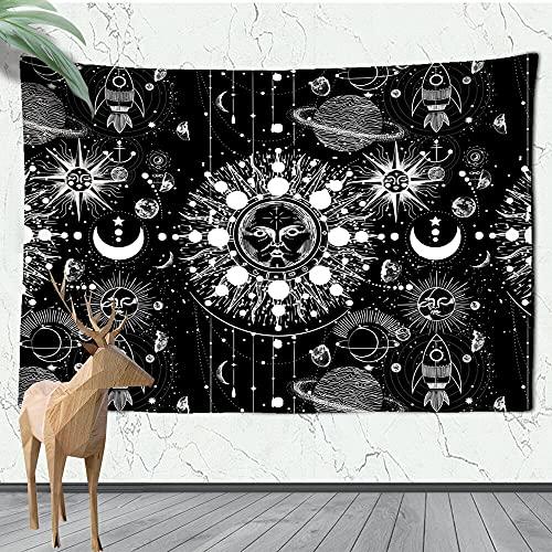 Tapiz de sol dorado y luna colgante de pared mandala indio tela de pared psicodélica bohemia decoración del hogar tela de fondo A12 73x95cm